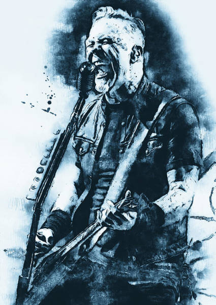 Thrash Metal Painting - James Hetfield - Watercolor 11 by Andrea Mazzocchetti