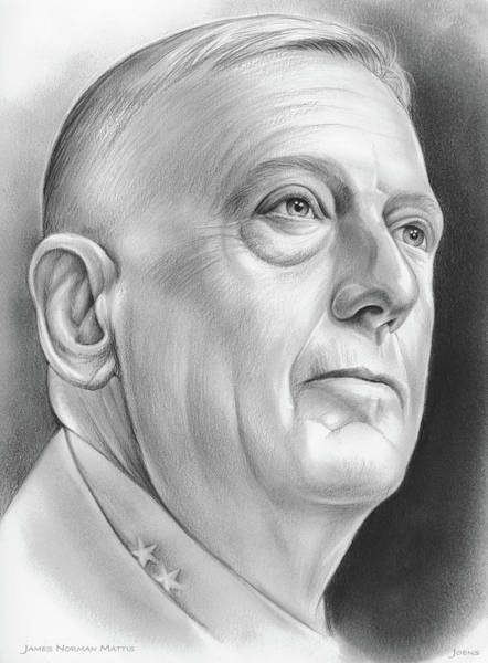 Wall Art - Drawing - James Norman Mattis by Greg Joens