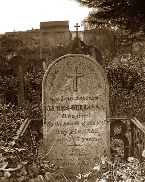 Photograph - James Sullivan Grave - Mission Dolores Cemetery by California Views Archives Mr Pat Hathaway Archives