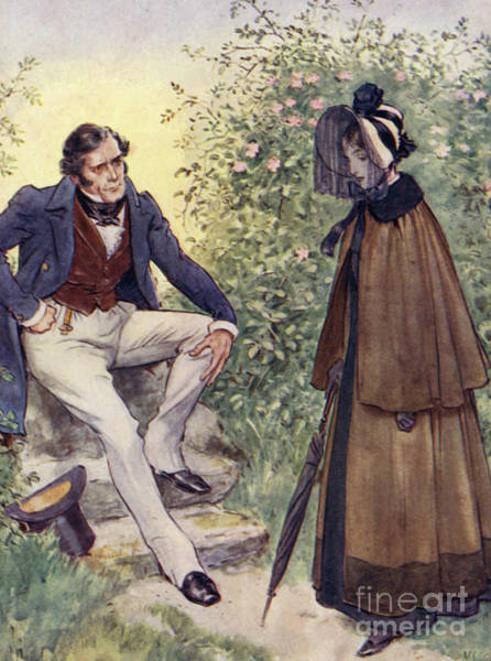 Wall Art - Painting - Jane Eyre Meets Mr Rochester By The Stile by Charles Edmund Brock