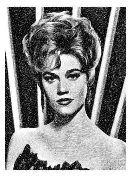 Pinewood Drawing - Jane Fonda, Vintage Actress By Js by John Springfield