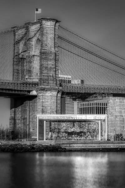 Photograph - Jane's Carousel Brooklyn Bridge Bw by Susan Candelario