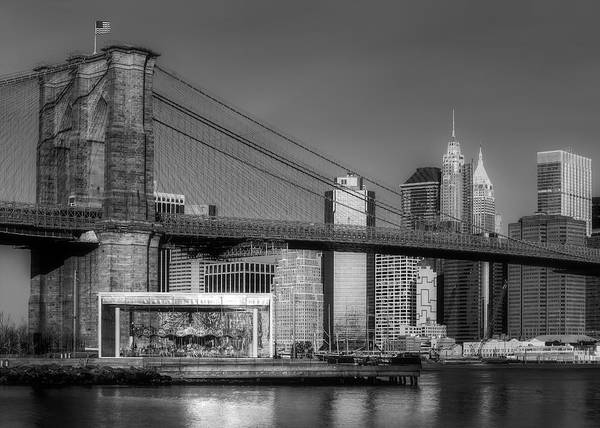 Photograph - Jane's Carousel Brooklyn Bridge Nyc Bw by Susan Candelario
