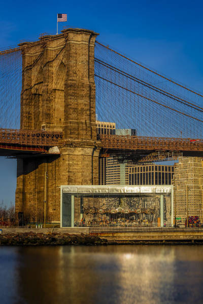 Photograph - Jane's Carousel Brooklyn Bridge by Susan Candelario