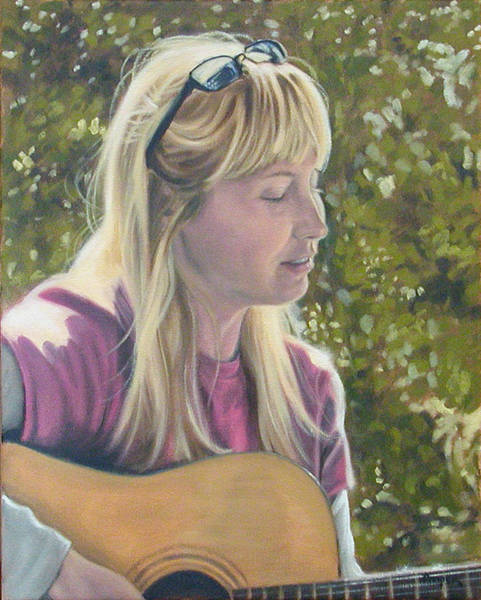 Painting - Janine Singing by Todd Cooper