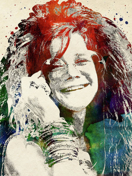 Daughter Digital Art - Janis Joplin Portrait by Mihaela Pater