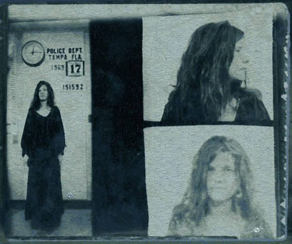The Blues Brothers Painting - Janis Joplin Mug Shot 1969 Pencil And Pastel Blue Green by Tony Rubino