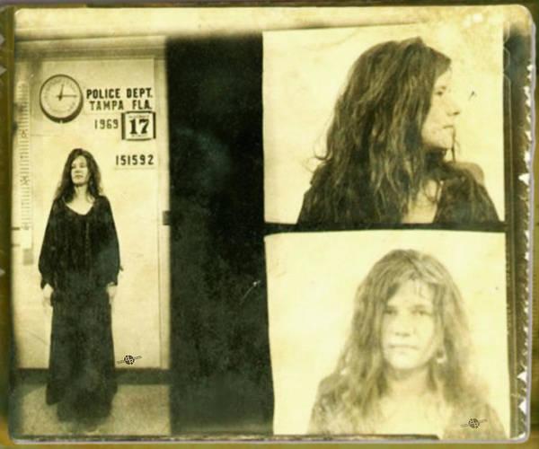 Janis Joplin Photograph - Janis Joplin Mug Shot 1969 Photo Gold by Tony Rubino