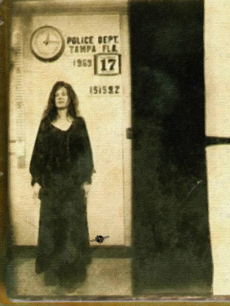 Painting - Janis Joplin Mug Shot Standing 1969 Painting Gold Black by Tony Rubino