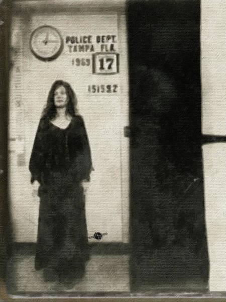 Painting - Janis Joplin Mug Shot Standing 1969 Painting Tan Black by Tony Rubino