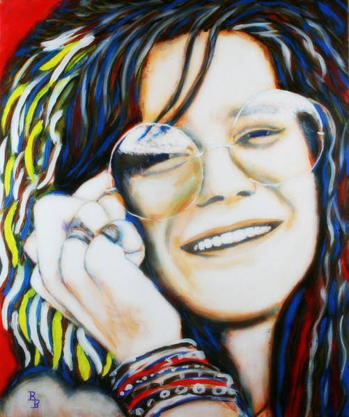 Painting - Janis Joplin Pop Art Portrait by Bob Baker