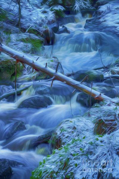 Stream Mixed Media - January Creek by Veikko Suikkanen