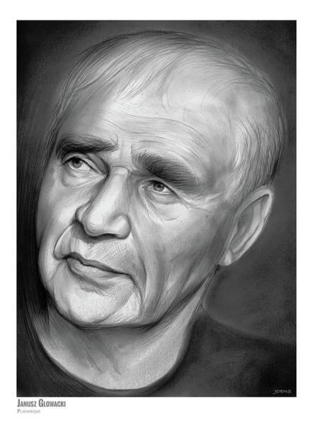 New York Drawing - Janusz Glowacki by Greg Joens