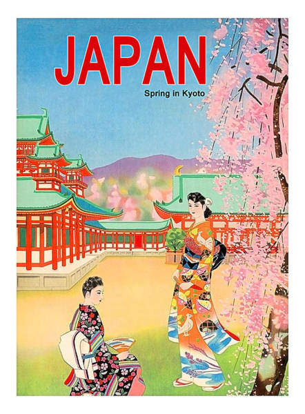 Wall Art - Painting - Japan, Spring In Kyoto, Vintage Travel Poster by Long Shot
