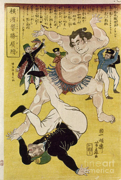 Foreigners Wall Art - Photograph - Japan: Sumo Wrestling by Granger