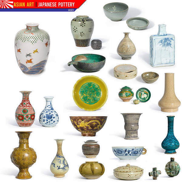 Painting - Japanese Art Japanese Pottery - Vases by Celestial Images