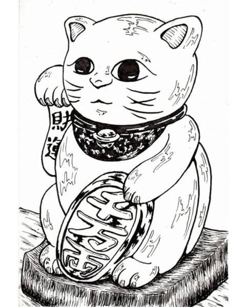 Ink Drawing - Japanese Beckoning Cat by Hisashi Saruta