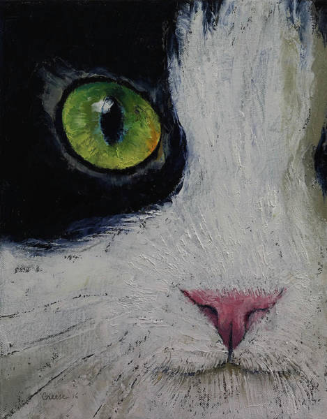 Looking Up Painting - Japanese Bobtail Cat by Michael Creese