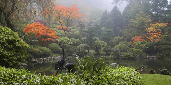 Photograph - Japanese Garden Cranes by Wes and Dotty Weber
