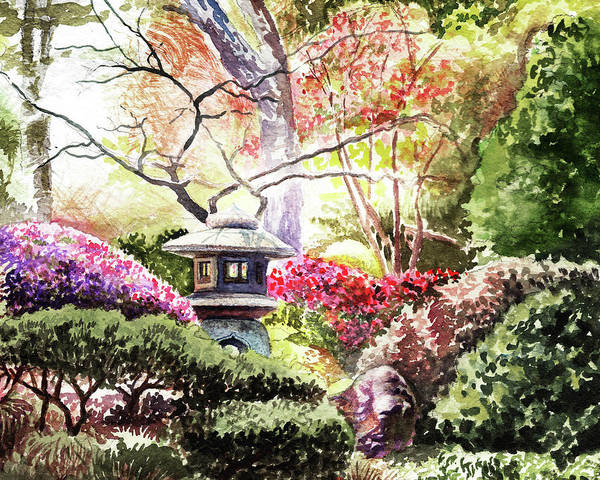Wall Art - Painting - Japanese Garden In The Spring by Irina Sztukowski