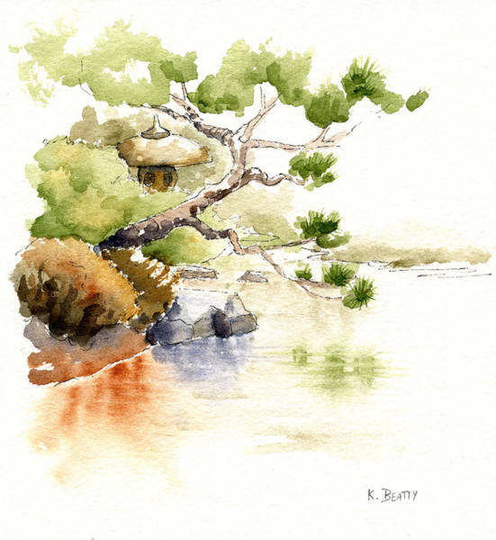 Japanese Garden Pond Sketch Art Print