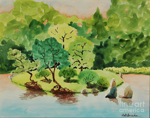 Wall Art - Painting - Japanese Garden Sunrise by Annette McGarrahan