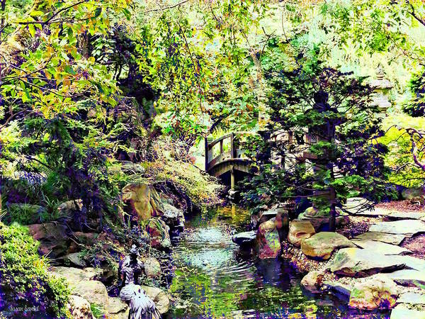 Photograph - Japanese Garden With Bridge And Stream by Susan Savad