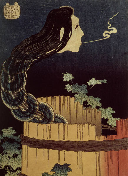 Barrels Drawing - Japanese Ghost by Hokusai