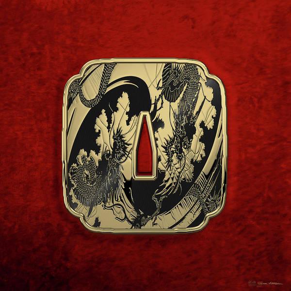 Digital Art - Japanese Katana Tsuba - Golden Twin Dragons On Black Steel Over Red Velvet by Serge Averbukh