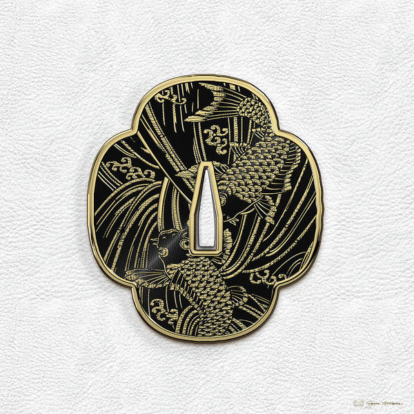 Digital Art - Japanese Katana Tsuba - Golden Twin Koi On Black Steel Over White Leather by Serge Averbukh