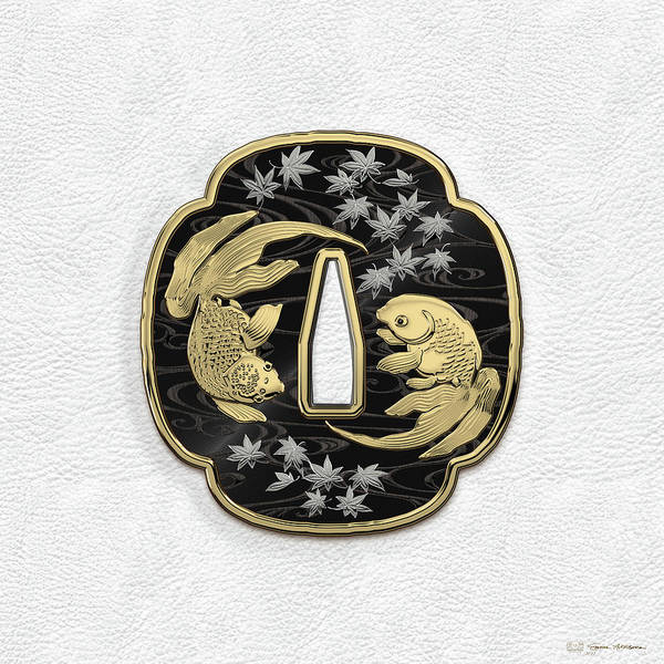 Digital Art - Japanese Katana Tsuba - Twin Gold Fish On Black Steel Over White Leather by Serge Averbukh