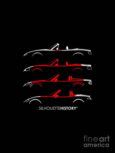 Japanese Art Digital Art - Japanese Roadster Silhouettehistory by Gabor Vida