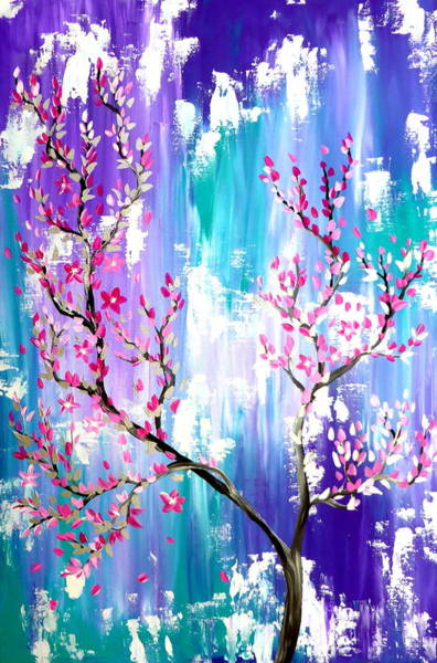 Blob Painting - Japanese Sakura Painting by Cathy Jacobs