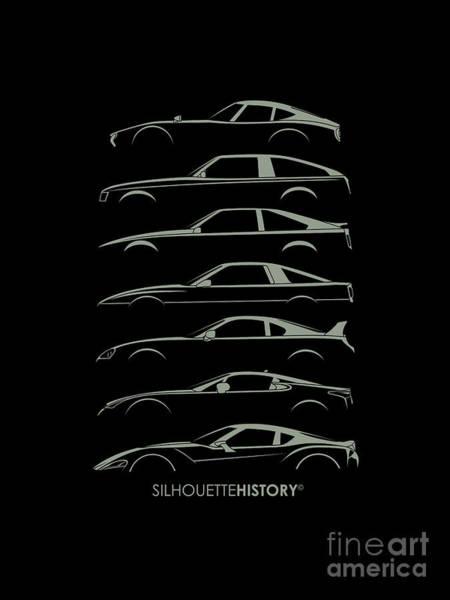 Japanese Art Digital Art - Japanese Sports Car Silhouettehistory by Gabor Vida