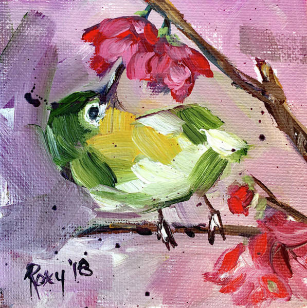 Green Painting - Japanese Warbler With Cherry Blossoms by Roxy Rich