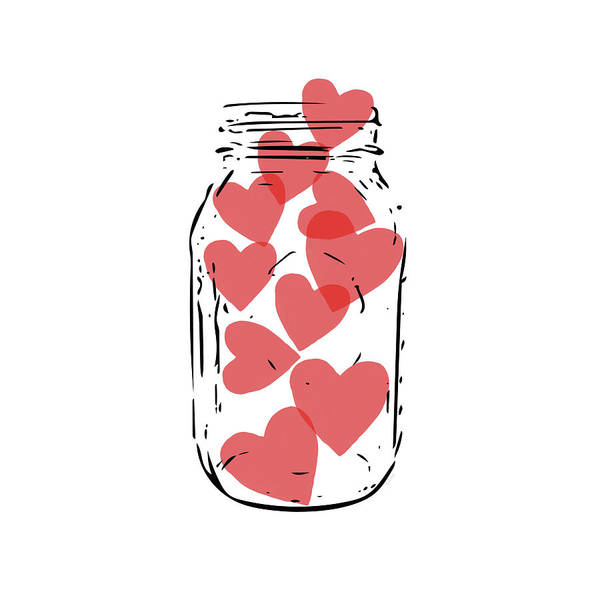 Wall Art - Digital Art - Jar Of Hearts- Art By Linda Woods by Linda Woods