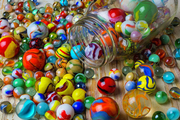 Memory Game Photograph - Jar Spilling Colorful Marbles by Garry Gay