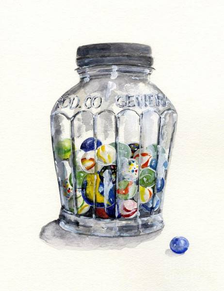 Wall Art - Painting - Jar With Marbles Watercolor by Sheryl Heatherly Hawkins
