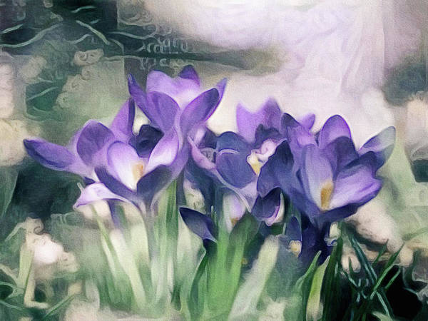 Purple Iris Mixed Media - Jardin Du Viole Ill - Garden Of Purple Series by Susan Maxwell Schmidt
