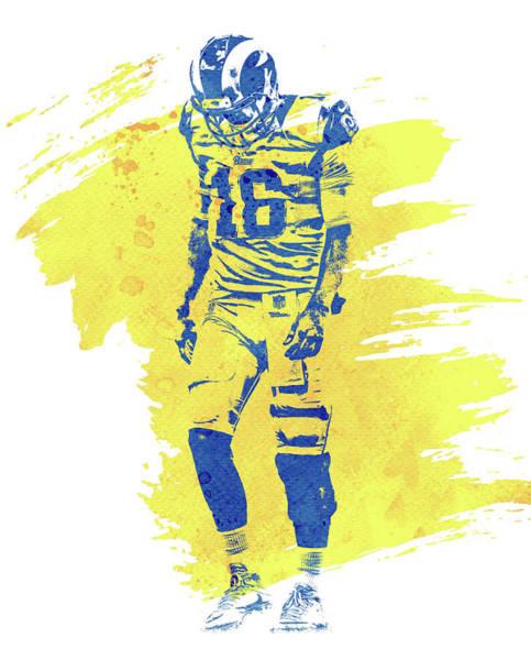 Jared Wall Art - Mixed Media - Jared Goff Los Angeles Rams Water Color Art 1 by Joe Hamilton