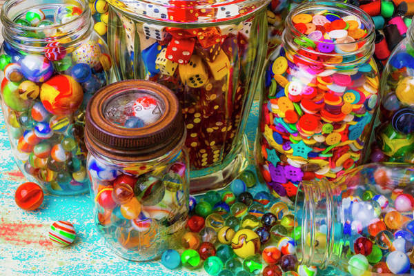 Wall Art - Photograph - Jars Full Of Marbles Dice With Buttons by Garry Gay
