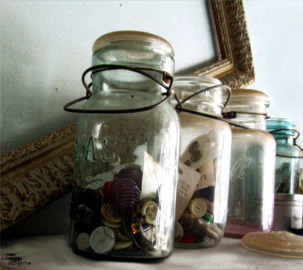Photograph - Jars Of Vintage Buttons by Delight Worthyn