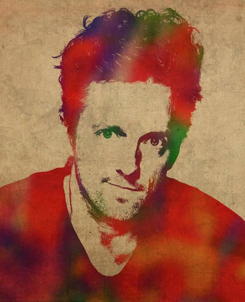 Watercolor Portrait Mixed Media - Jason Mraz Watercolor Portrait by Design Turnpike