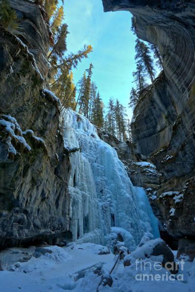 Photograph - Jasper Frozen Waterfall Canyon by Adam Jewell