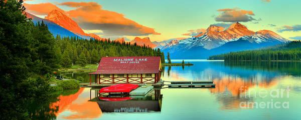 Photograph - Jasper Maligne Lake Sunset Panorama by Adam Jewell
