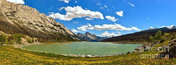 Wall Art - Photograph - Jasper Medicine Lake Spring Panorama Crop by Adam Jewell
