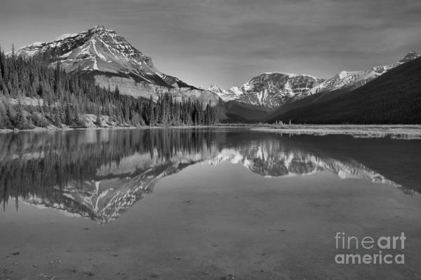 Photograph - Jasper Mt Chephren Reflections Black And White by Adam Jewell
