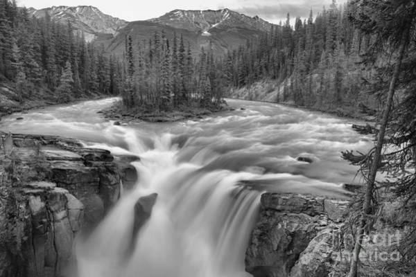 Photograph - Jasper Sunwapta Falls Black And White by Adam Jewell