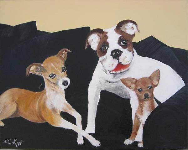 English Bulldog Painting - Jas's Family by KC Knight