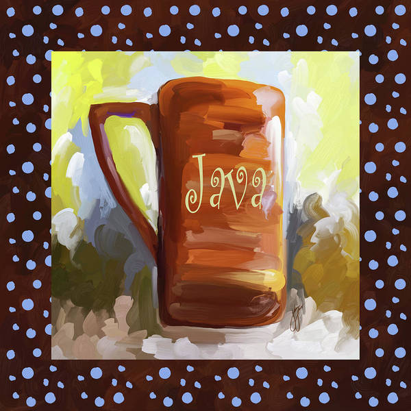 Wall Art - Painting - Java Coffee Cup With Blue Dots by Jai Johnson